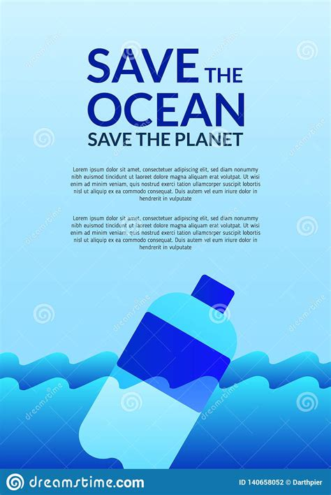 Earth Day Save Sea Poster Template With Modern Icon Of
