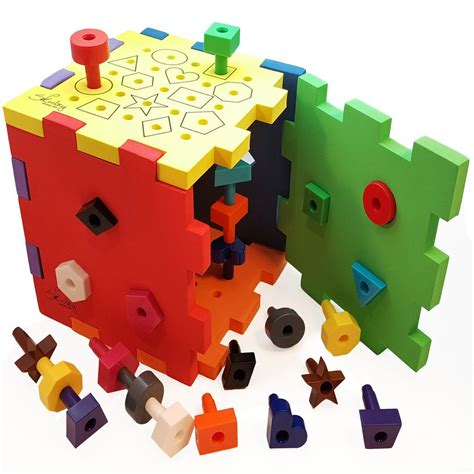 Activity Cube for Toddlers - Shape Sorter Pegboard for