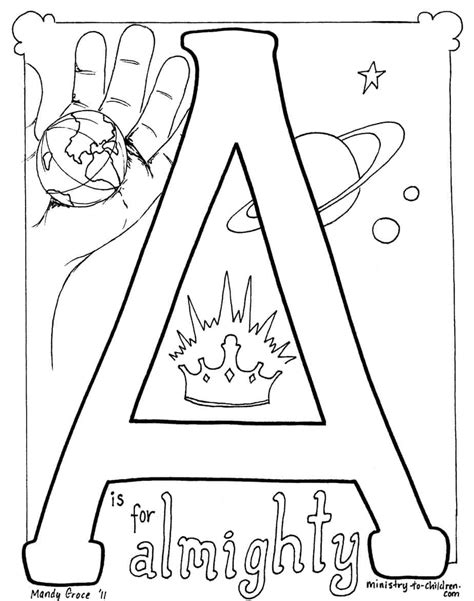 """""""A is for Almighty"""" Coloring Page"""