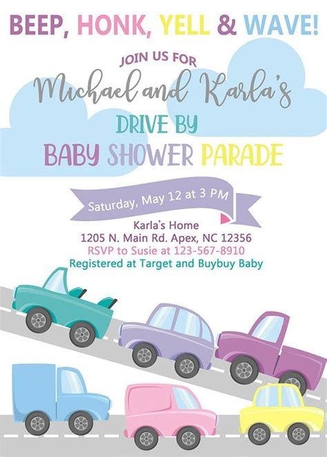 BABY SHOWER PARADE Invitation Long Distance Baby Shower