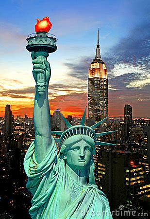 The Statue Of Liberty And New York City Skyline Royalty