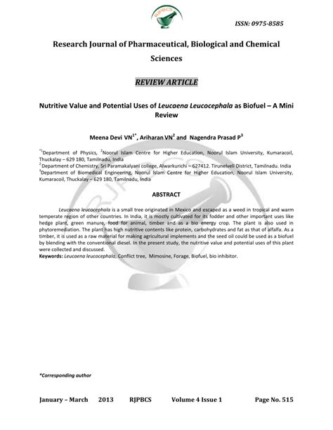 (PDF) Nutritive Value and Potential Uses of Leucaena