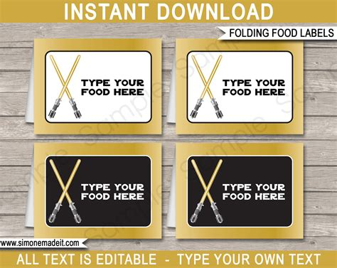 Gold Star Wars Food Labels | Place Cards | Birthday Party