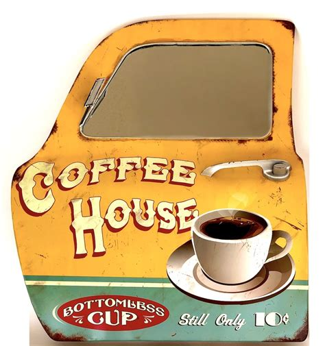 Vintage coffee sign with mirror for pub | Coffee house